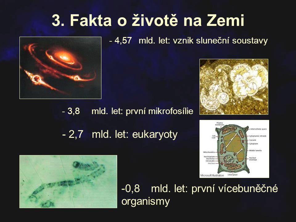 3. Fakta o životě na Zemi - 2,7 mld. let: eukaryoty