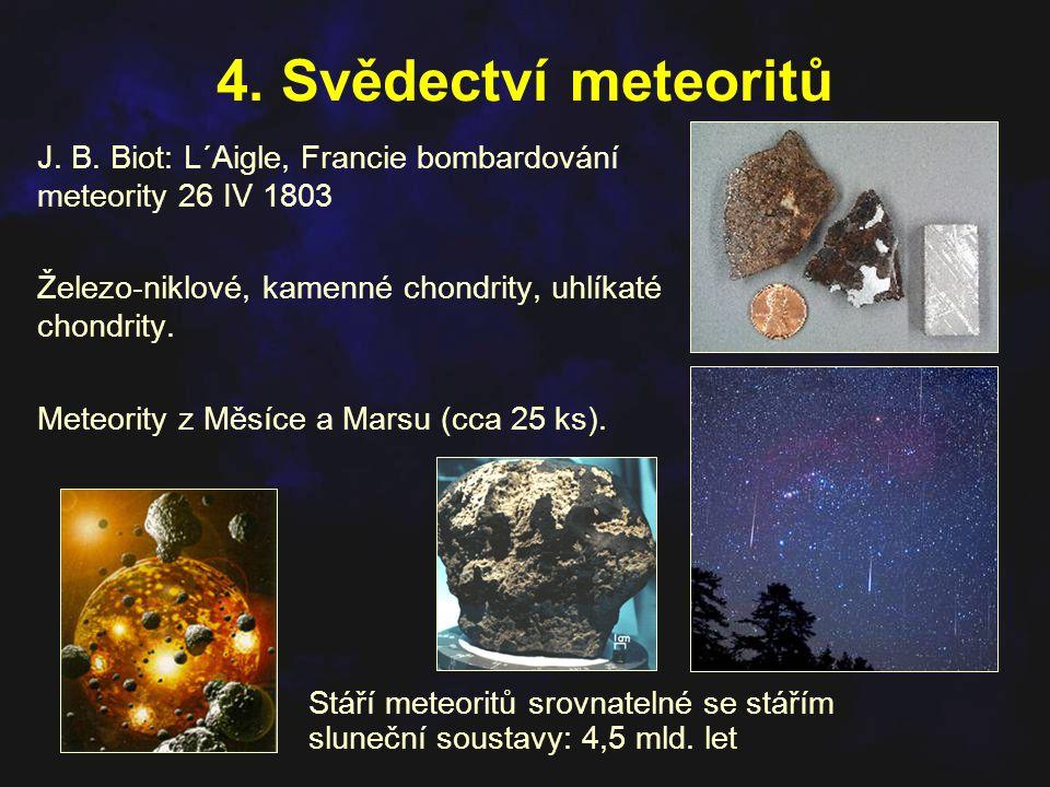 4. Svědectví meteoritů J. B. Biot: L´Aigle, Francie bombardování meteority 26 IV 1803. Železo-niklové, kamenné chondrity, uhlíkaté chondrity.