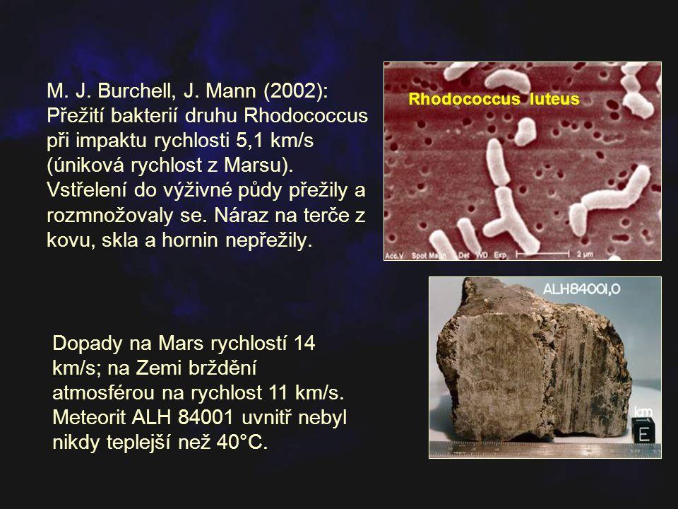 M. J. Burchell, J. Mann (2002): Přežití bakterií druhu Rhodococcus při impaktu rychlosti 5,1 km/s (úniková rychlost z Marsu). Vstřelení do výživné půdy přežily a rozmnožovaly se. Náraz na terče z kovu, skla a hornin nepřežily.
