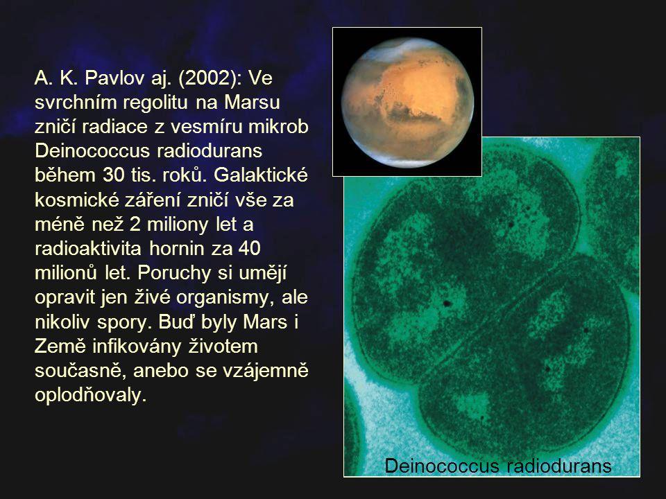 A. K. Pavlov aj. (2002): Ve svrchním regolitu na Marsu zničí radiace z vesmíru mikrob Deinococcus radiodurans během 30 tis. roků. Galaktické kosmické záření zničí vše za méně než 2 miliony let a radioaktivita hornin za 40 milionů let. Poruchy si umějí opravit jen živé organismy, ale nikoliv spory. Buď byly Mars i Země infikovány životem současně, anebo se vzájemně oplodňovaly.