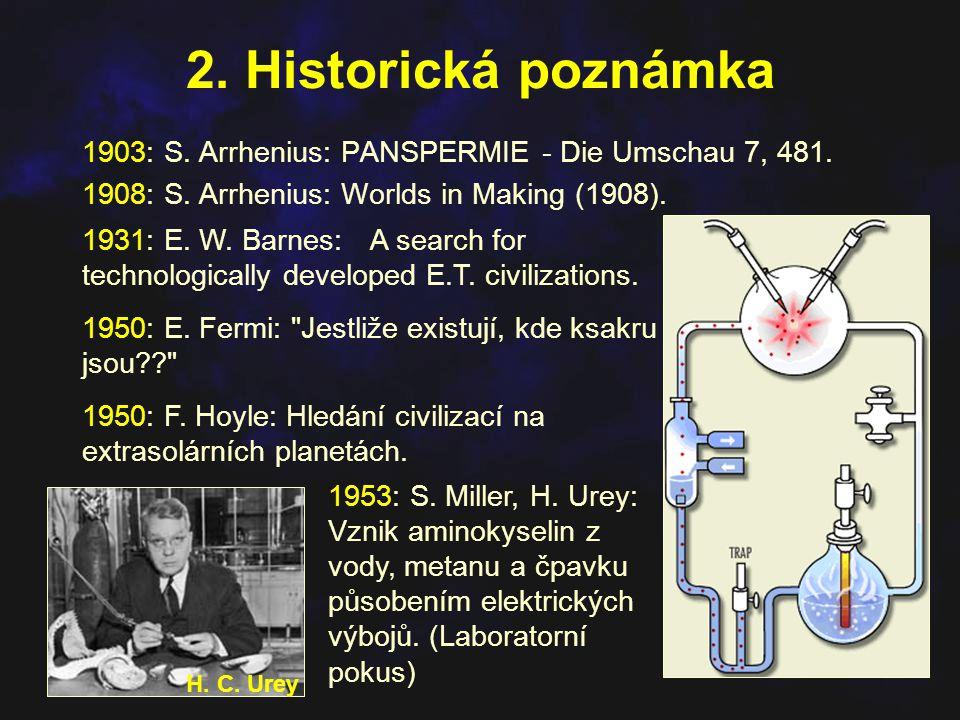 2. Historická poznámka 1903: S. Arrhenius: PANSPERMIE - Die Umschau 7, 481. 1908: S. Arrhenius: Worlds in Making (1908).