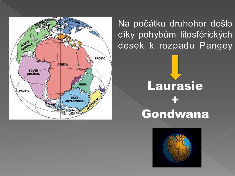 Na počátku druhohor došlo díky pohybům litosférických desek k rozpadu Pangey