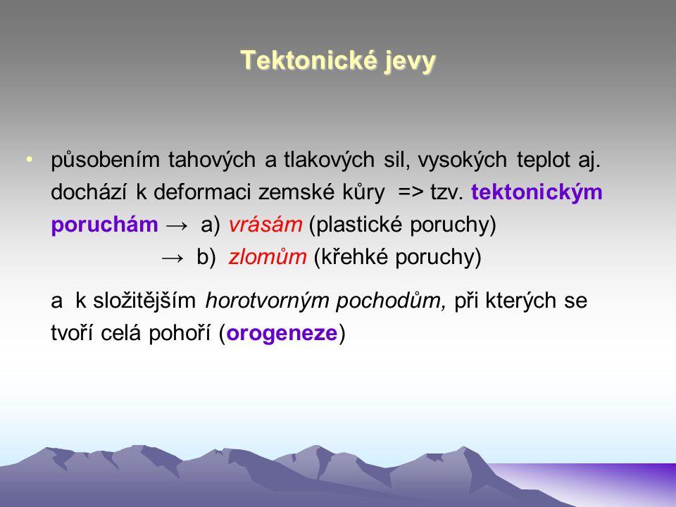 Tektonické jevy působením tahových a tlakových sil, vysokých teplot aj. dochází k deformaci zemské kůry => tzv. tektonickým.