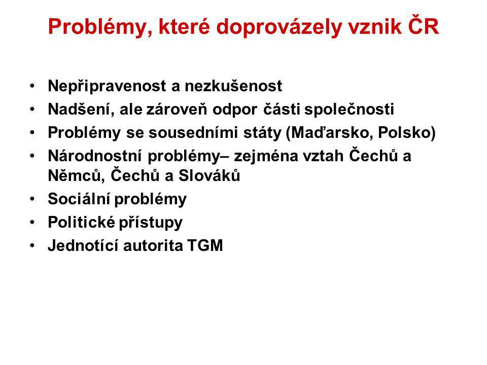 Problémy, které doprovázely vznik ČR