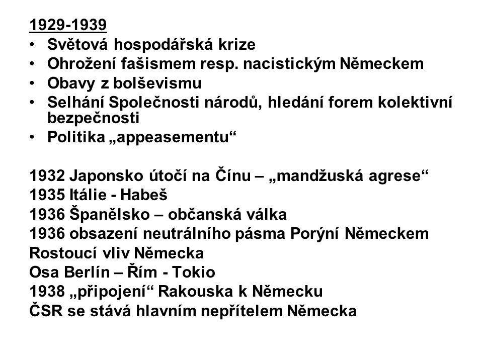 1929-1939 Světová hospodářská krize. Ohrožení fašismem resp. nacistickým Německem. Obavy z bolševismu.