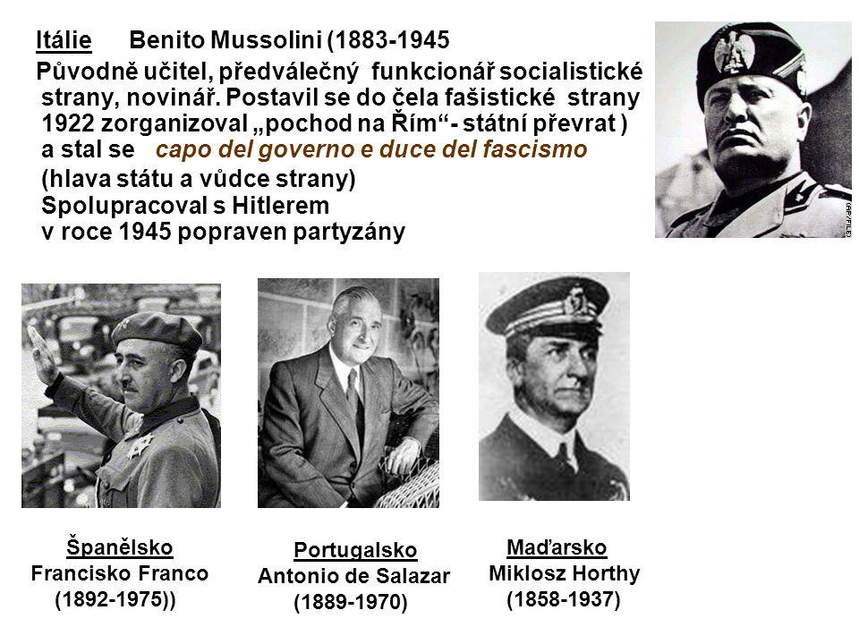 Itálie Benito Mussolini (1883-1945