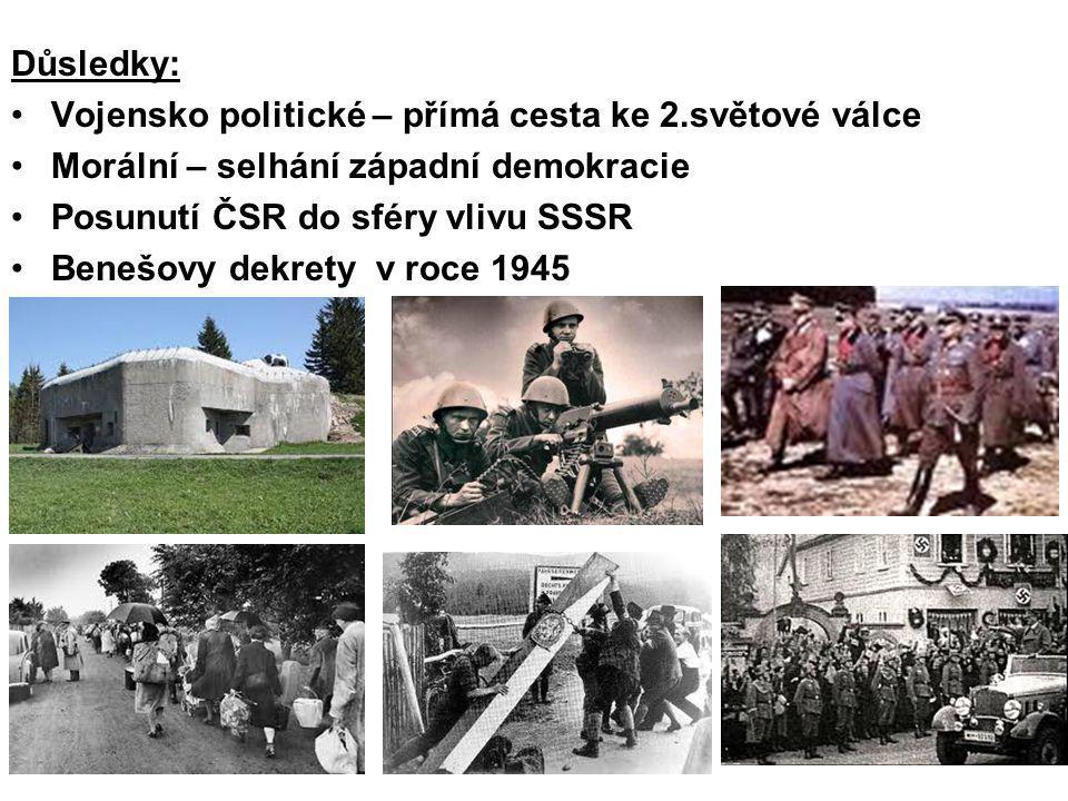 Důsledky: Vojensko politické – přímá cesta ke 2.světové válce. Morální – selhání západní demokracie.