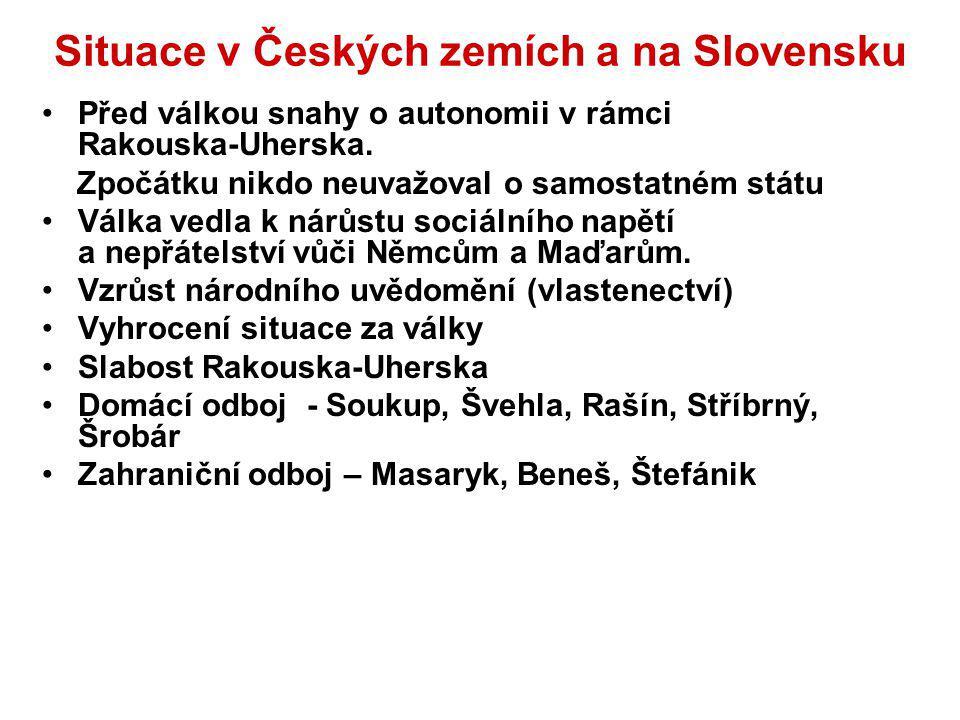 Situace v Českých zemích a na Slovensku