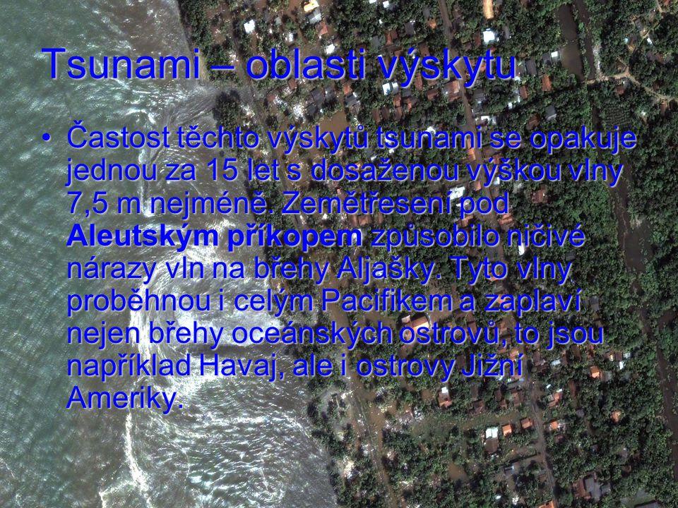 Tsunami – oblasti výskytu