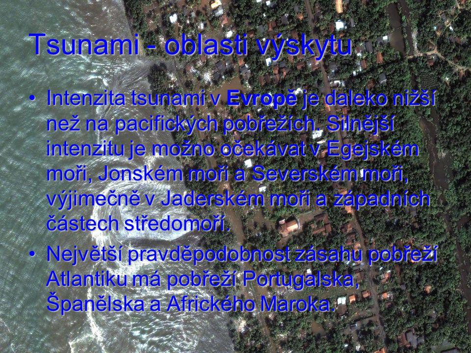 Tsunami - oblasti výskytu