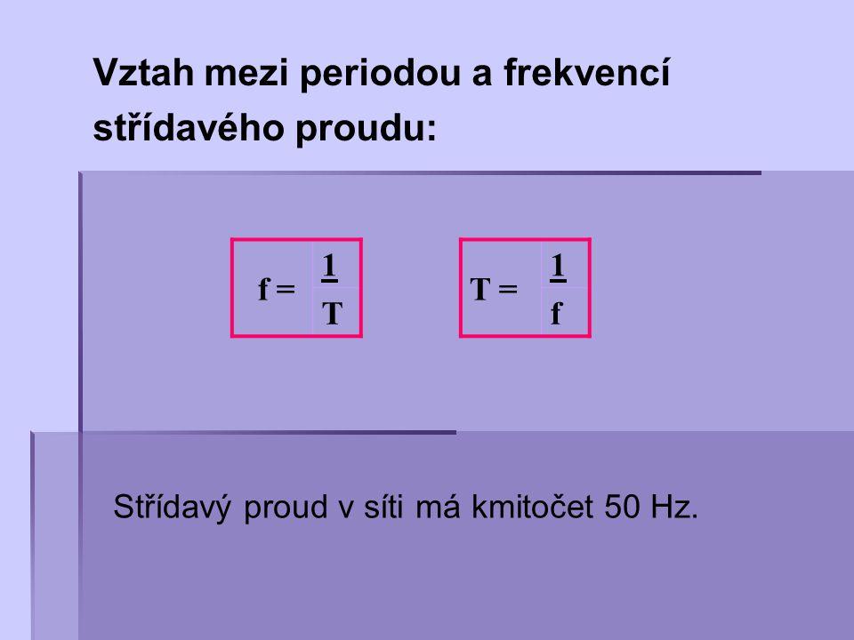 Vztah mezi periodou a frekvencí střídavého proudu: