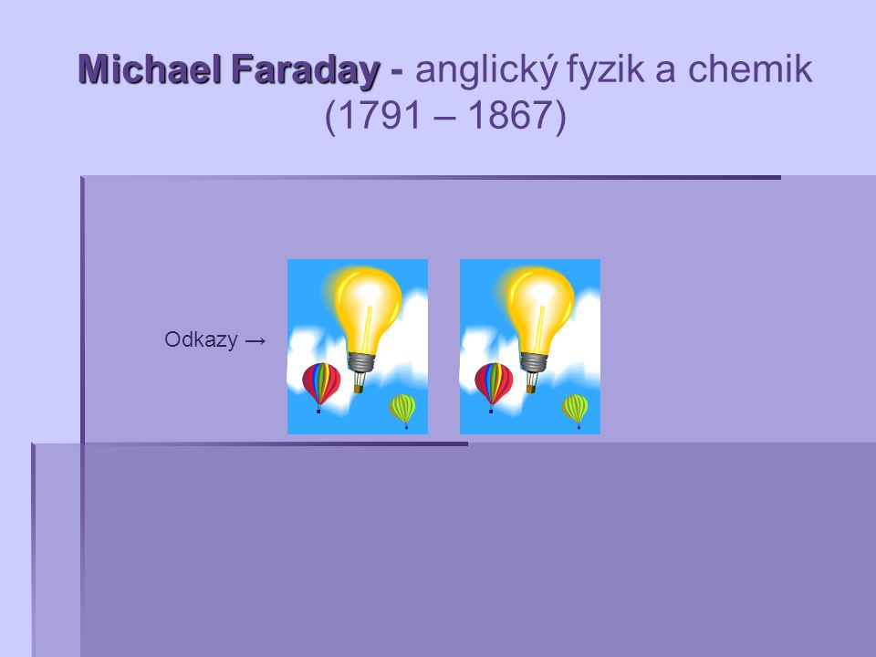 Michael Faraday - anglický fyzik a chemik (1791 – 1867)