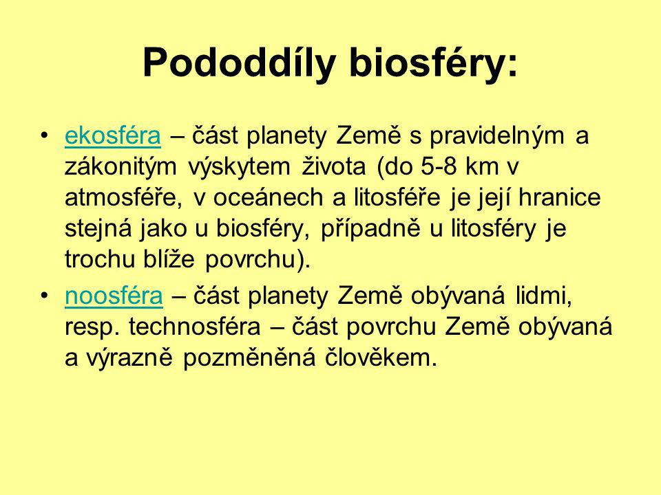 Pododdíly biosféry:
