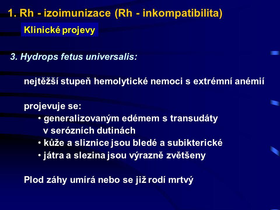 1. Rh - izoimunizace (Rh - inkompatibilita)