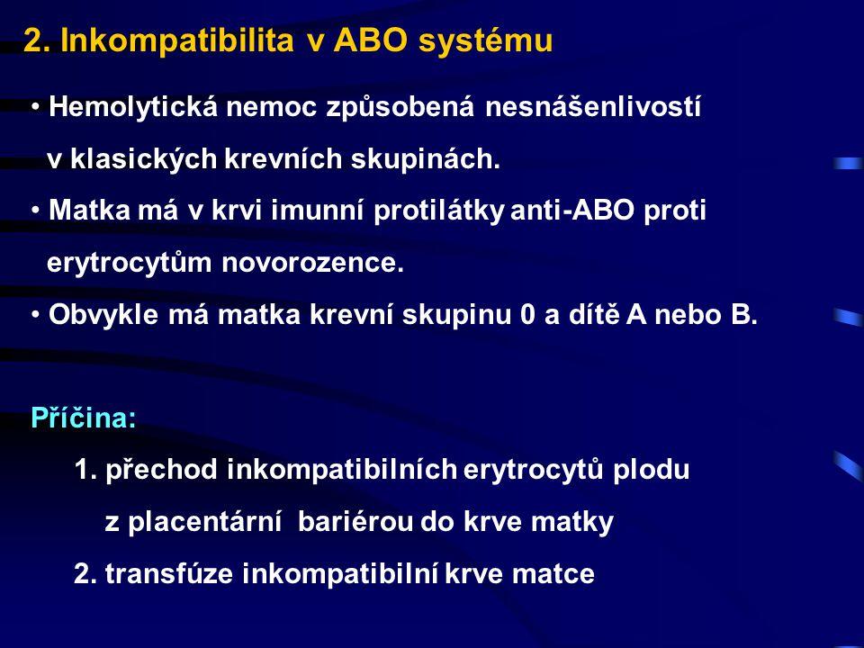 2. Inkompatibilita v ABO systému