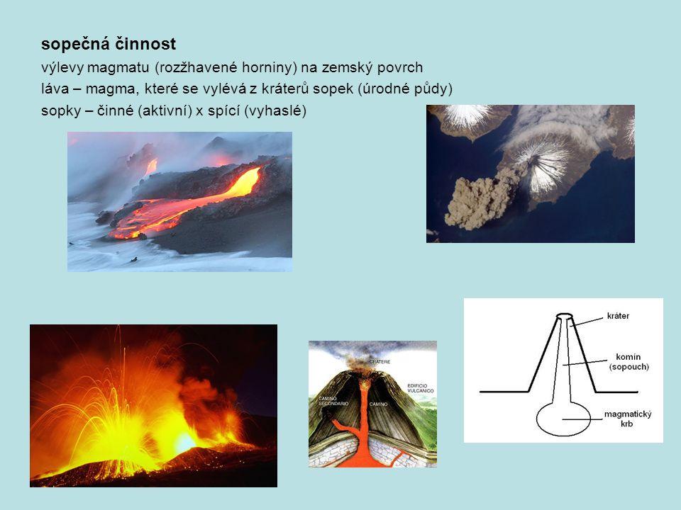 sopečná činnost výlevy magmatu (rozžhavené horniny) na zemský povrch