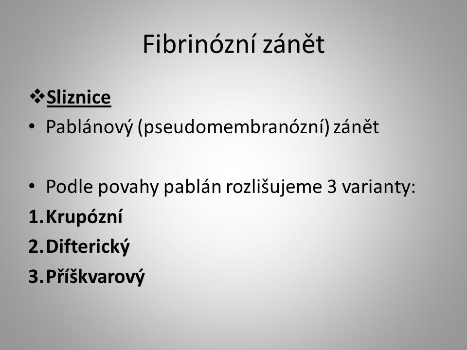 Fibrinózní zánět Sliznice Pablánový (pseudomembranózní) zánět