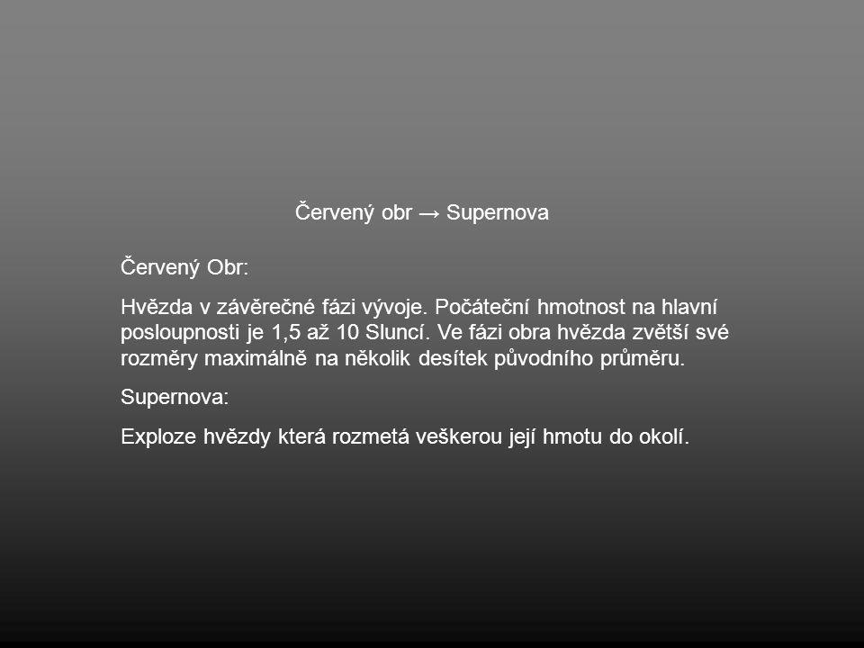 Červený obr → Supernova