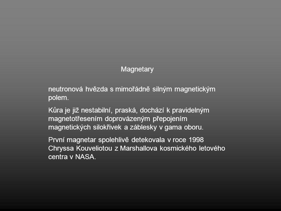 Magnetary neutronová hvězda s mimořádně silným magnetickým polem.