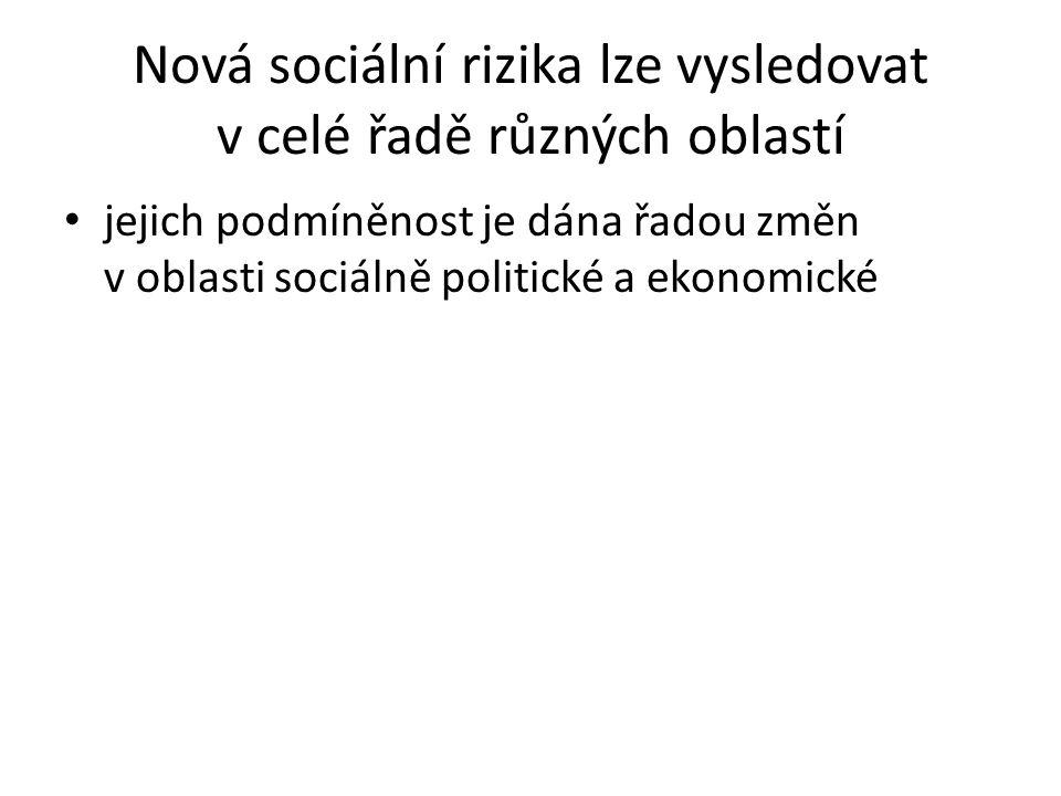 Nová sociální rizika lze vysledovat v celé řadě různých oblastí