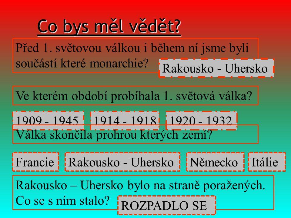 Co bys měl vědět Před 1. světovou válkou i během ní jsme byli součástí které monarchie Rakousko - Uhersko.