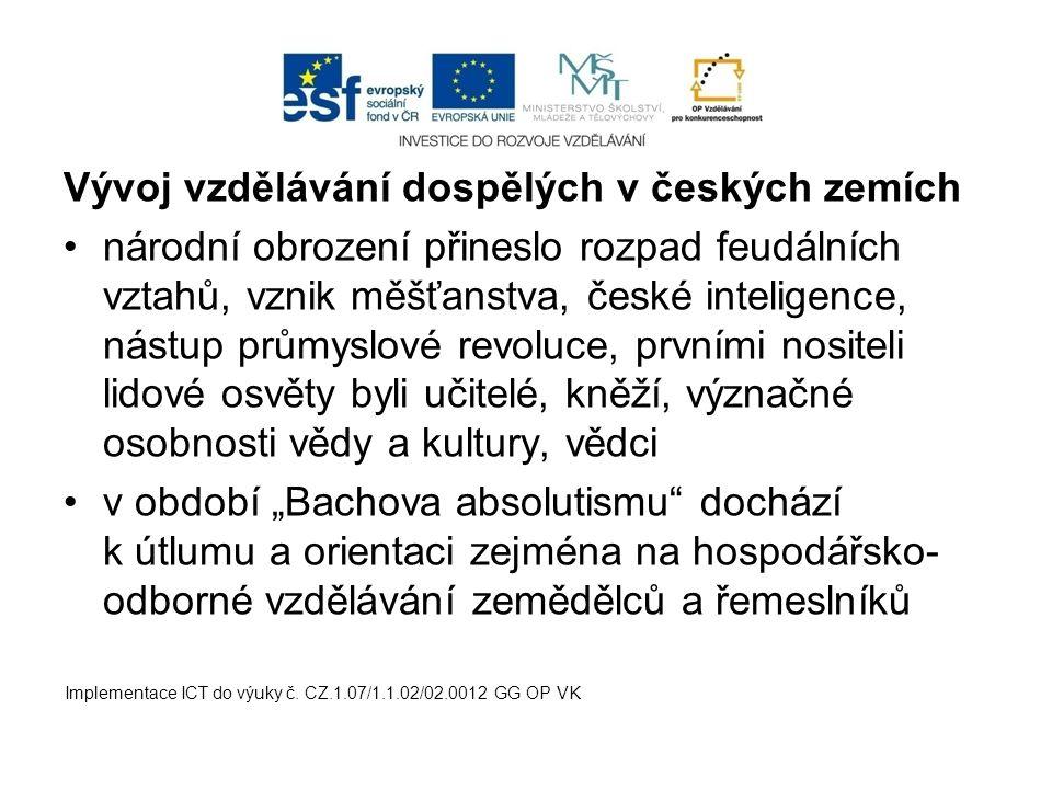 Vývoj vzdělávání dospělých v českých zemích