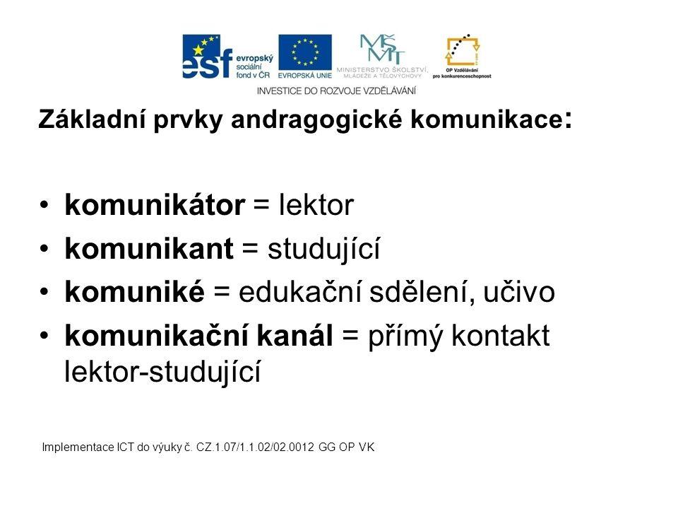 komunikant = studující komuniké = edukační sdělení, učivo