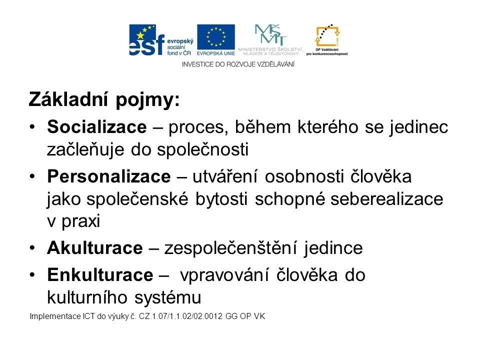 Základní pojmy: Socializace – proces, během kterého se jedinec začleňuje do společnosti.