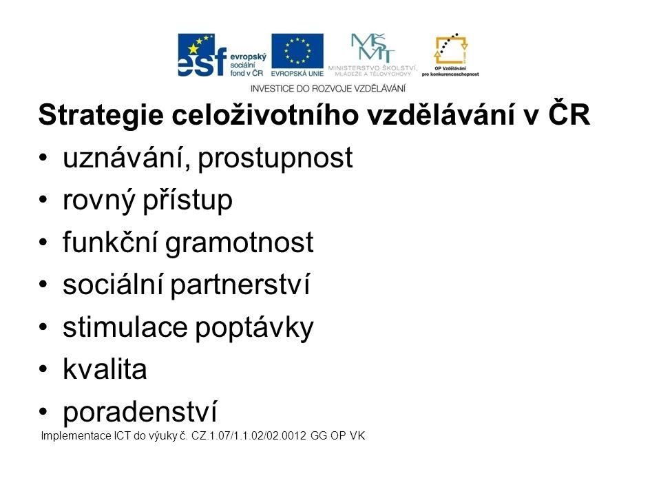 Strategie celoživotního vzdělávání v ČR uznávání, prostupnost