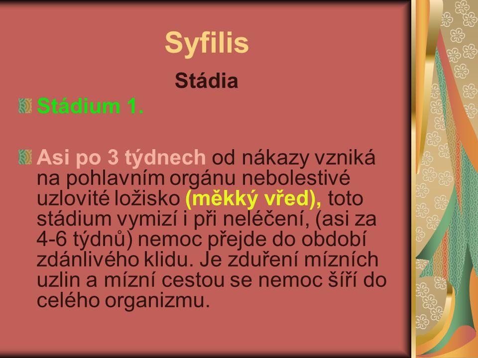 Syfilis Stádia Stádium 1.