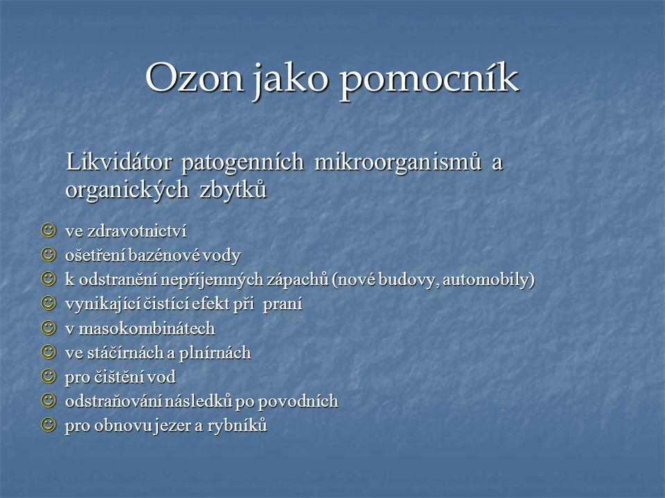 Ozon jako pomocník Likvidátor patogenních mikroorganismů a organických zbytků. ve zdravotnictví. ošetření bazénové vody.