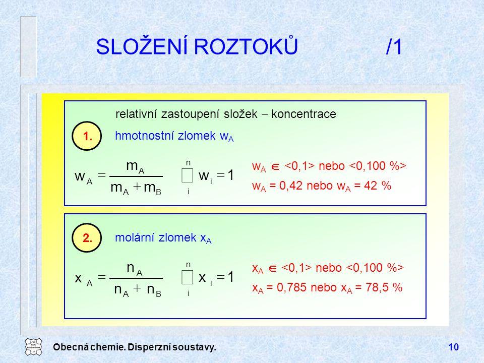 å å SLOŽENÍ ROZTOKŮ /1 = m w + 1 = n x + 1 hmotnostní zlomek wA 1.