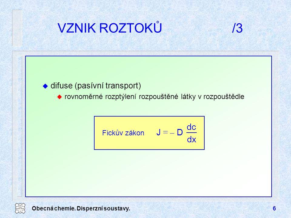 VZNIK ROZTOKŮ /3 dx dc D - J = difuse (pasívní transport)