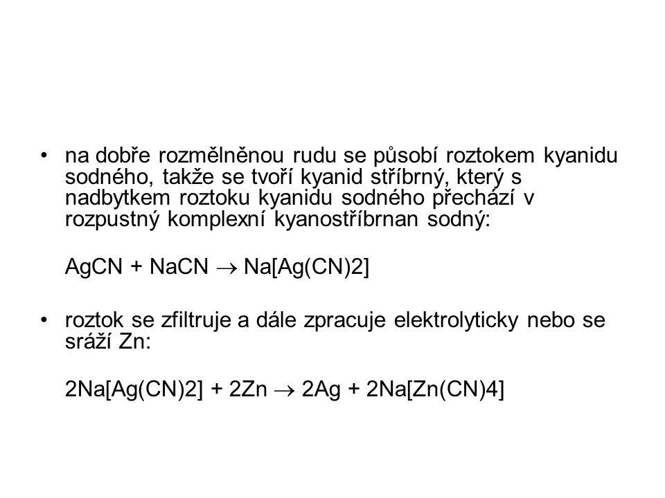 na dobře rozmělněnou rudu se působí roztokem kyanidu sodného, takže se tvoří kyanid stříbrný, který s nadbytkem roztoku kyanidu sodného přechází v rozpustný komplexní kyanostříbrnan sodný: