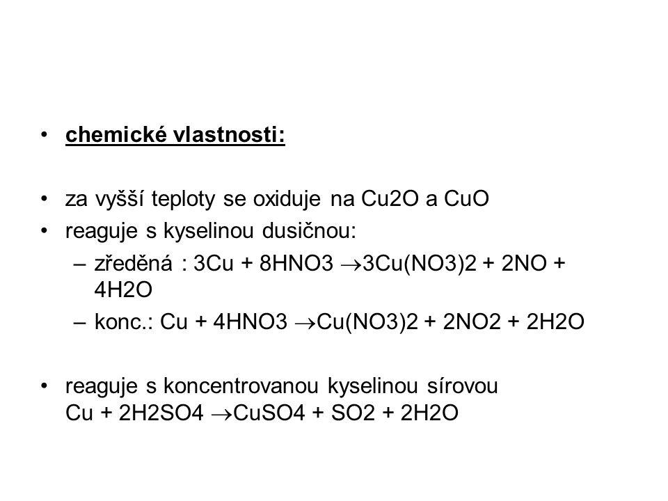 chemické vlastnosti: za vyšší teploty se oxiduje na Cu2O a CuO. reaguje s kyselinou dusičnou: zředěná : 3Cu + 8HNO3 3Cu(NO3)2 + 2NO + 4H2O.