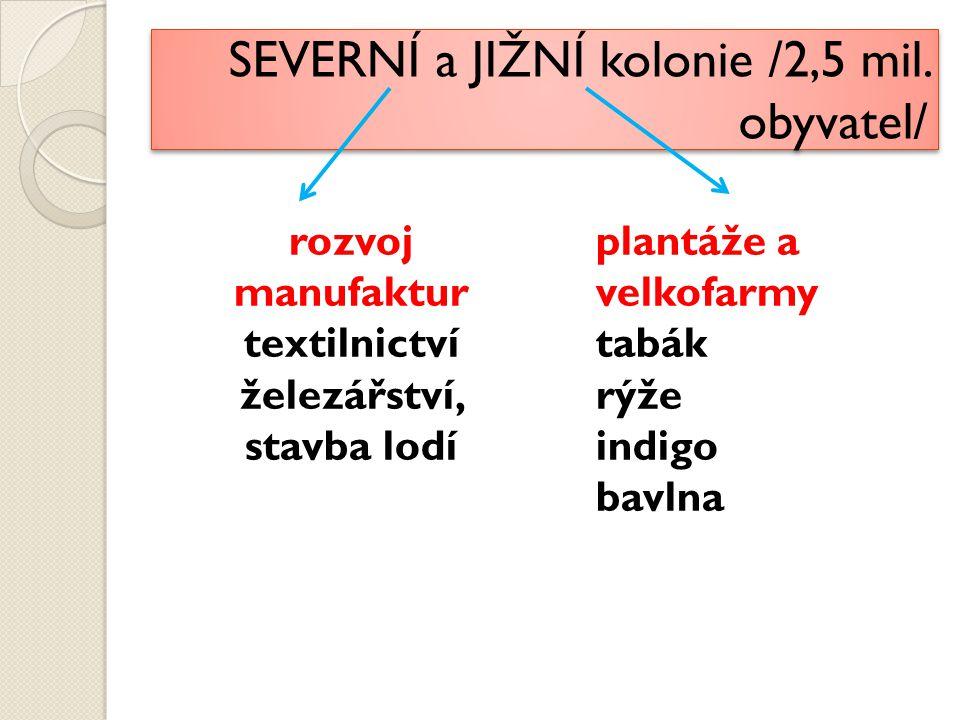 SEVERNÍ a JIŽNÍ kolonie /2,5 mil. obyvatel/