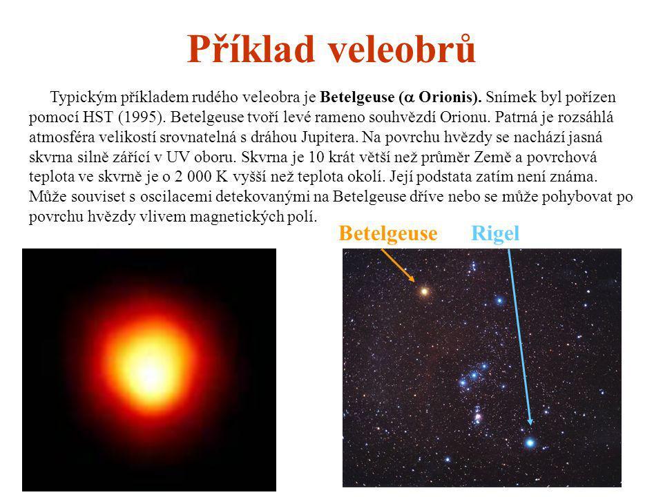 Příklad veleobrů Betelgeuse Rigel