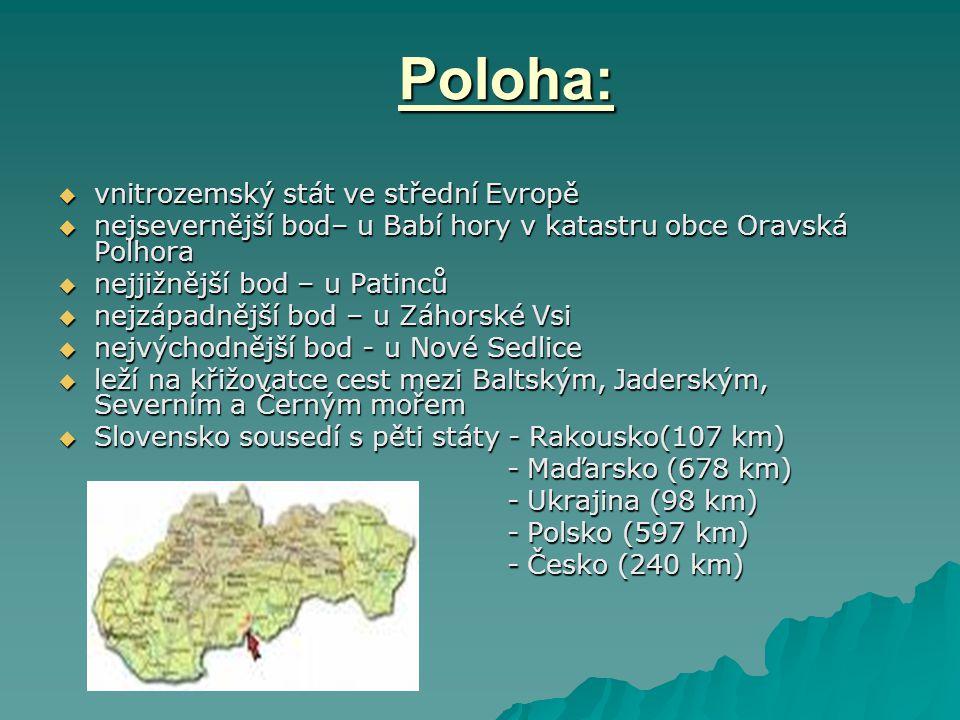 Poloha: vnitrozemský stát ve střední Evropě