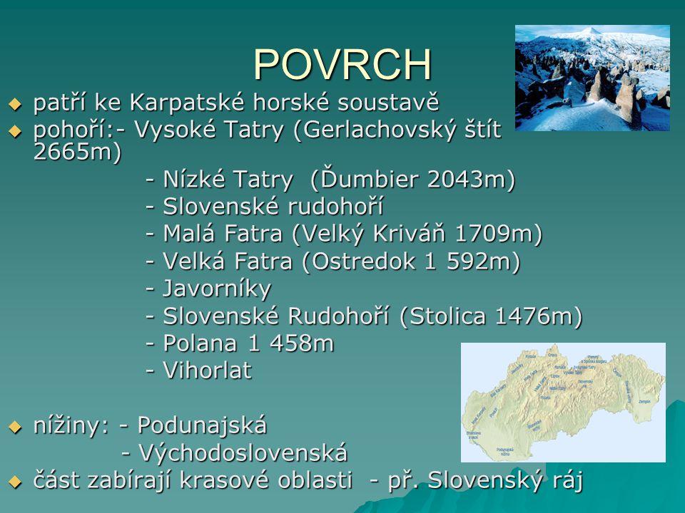 POVRCH patří ke Karpatské horské soustavě
