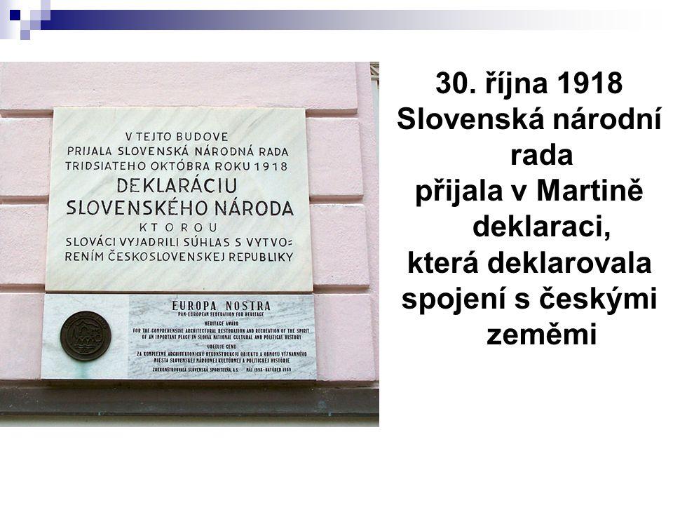 Slovenská národní rada přijala v Martině deklaraci, která deklarovala