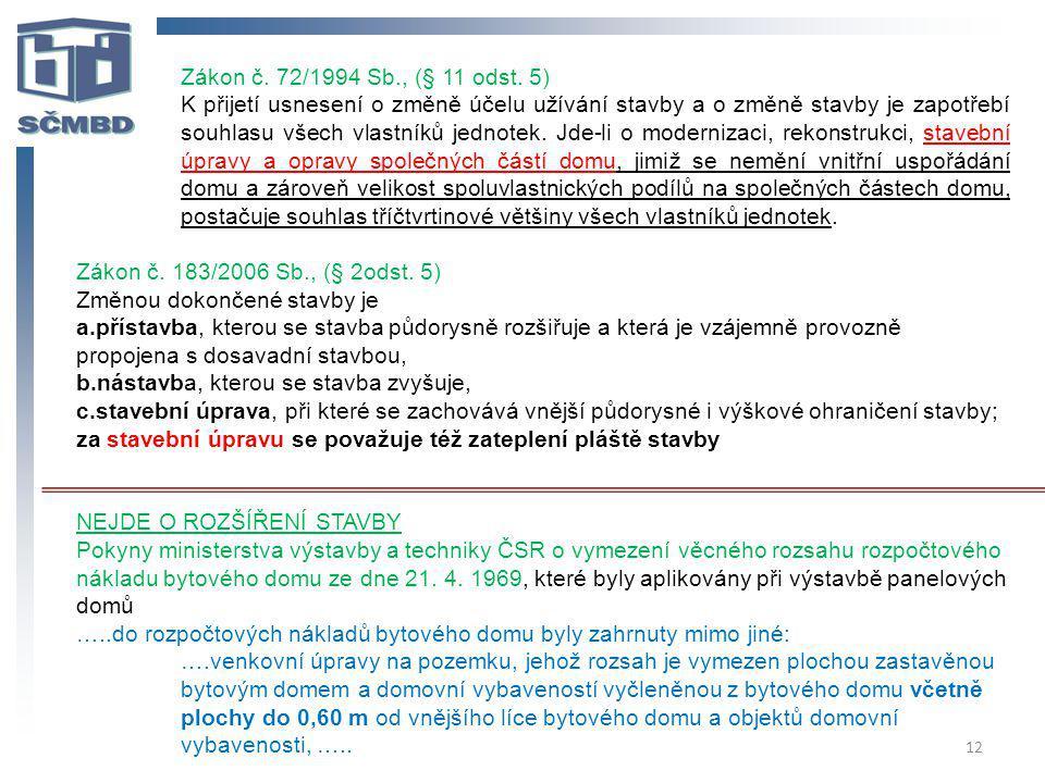 Zákon č. 72/1994 Sb., (§ 11 odst. 5)