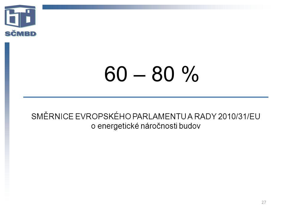 60 – 80 % SMĚRNICE EVROPSKÉHO PARLAMENTU A RADY 2010/31/EU