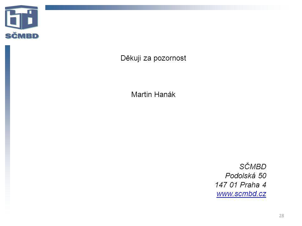 Děkuji za pozornost Martin Hanák SČMBD Podolská 50 147 01 Praha 4 www.scmbd.cz