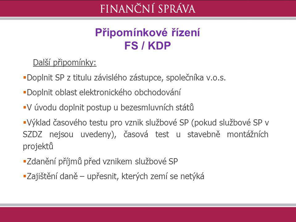 Připomínkové řízení FS / KDP