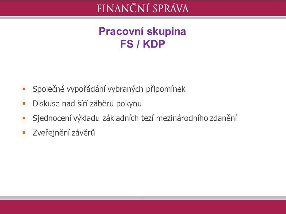 Pracovní skupina FS / KDP
