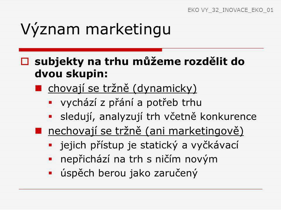 Význam marketingu subjekty na trhu můžeme rozdělit do dvou skupin: