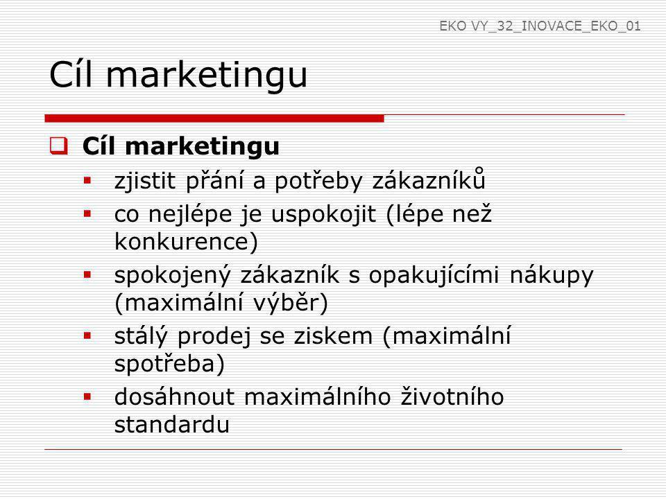 Cíl marketingu Cíl marketingu zjistit přání a potřeby zákazníků