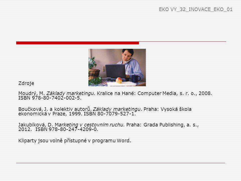 EKO VY_32_INOVACE_EKO_01 Zdroje. Moudrý, M. Základy marketingu. Kralice na Hané: Computer Media, s. r. o., 2008. ISBN 978-80-7402-002-5.