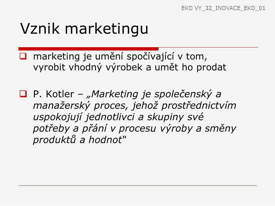 EKO VY_32_INOVACE_EKO_01 Vznik marketingu. marketing je umění spočívající v tom, vyrobit vhodný výrobek a umět ho prodat.