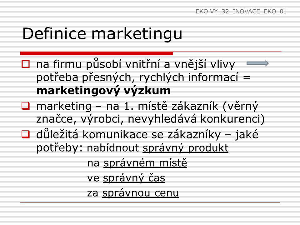 EKO VY_32_INOVACE_EKO_01 Definice marketingu. na firmu působí vnitřní a vnější vlivy potřeba přesných, rychlých informací = marketingový výzkum.